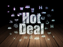 Finance concept: Hot Deal in grunge dark room Royalty Free Stock Photography