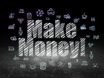 Finance concept: Make Money! in grunge dark room. Finance concept: Glowing text Make Money!,  Hand Drawn Business Icons in grunge dark room with Dirty Floor Stock Images