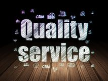 Finance concept: Quality Service in grunge dark room. Finance concept: Glowing text Quality Service,  Hand Drawn Business Icons in grunge dark room with Wooden Royalty Free Stock Images