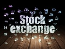 Finance concept: Stock Exchange in grunge dark room. Finance concept: Glowing text Stock Exchange,  Hand Drawn Business Icons in grunge dark room with Wooden Stock Photos