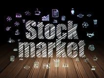 Finance concept: Stock Market in grunge dark room Royalty Free Stock Photo