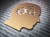 Finance concept: Golden Head With Gears on Business background. 3d render Stock Images