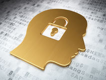 Finance concept: Golden Head With Padlock on digital background. 3d render Stock Photography