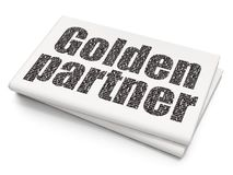 Finance concept: Golden Partner on Blank Newspaper background Royalty Free Stock Photography