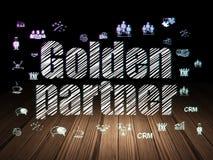 Finance concept: Golden Partner in grunge dark room. Finance concept: Glowing text Golden Partner,  Hand Drawn Business Icons in grunge dark room with Wooden Stock Photo