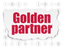 Finance concept: Golden Partner on Torn Paper background. Finance concept: Painted red text Golden Partner on Torn Paper background with Scheme Of Binary Code Royalty Free Stock Photography