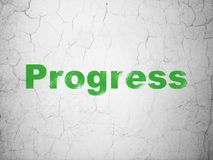 Finance concept: Progress on wall background. Finance concept: Green Progress on textured concrete wall background Stock Images