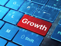Finance concept: Growth on computer keyboard. Finance concept: computer keyboard with word Growth on enter button background, 3d render Stock Images