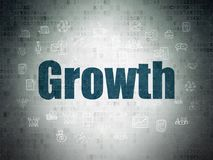 Finance concept: Growth on Digital Data Paper background. Finance concept: Painted blue text Growth on Digital Data Paper background with  Hand Drawn Business Royalty Free Stock Photography