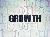 Finance concept: Growth on Digital Data Paper background. Finance concept: Painted black text Growth on Digital Data Paper background with Binary Code Stock Image