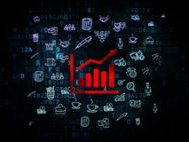 Finance concept: Growth Graph on Digital. Finance concept: Pixelated red Growth Graph icon on Digital background with  Hand Drawn Business Icons, 3d render Royalty Free Stock Photography