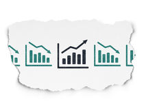 Finance concept: growth graph icon on Torn Paper. Finance concept: row of Painted blue decline graph icons around black growth graph icon on Torn Paper Royalty Free Stock Image