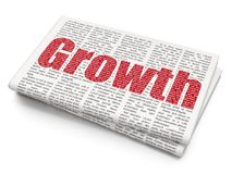Finance concept: Growth on Newspaper background. Finance concept: Pixelated red text Growth on Newspaper background, 3D rendering Stock Photo