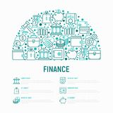Finance concept in half circle. With thin line icons: safe, credit card, piggy bank, wallet, currency exchange, hammer, agreement, handshake, atm slot. Modern Royalty Free Stock Photo