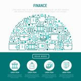 Finance concept in half circle. With thin line icons: safe, credit card, piggy bank, wallet, currency exchange, hammer, agreement, handshake, atm slot. Modern Royalty Free Stock Images