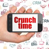 Finance concept: Hand Holding Smartphone with Crunch Time on display Royalty Free Stock Photo