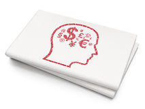 Finance concept: Head With Finance Symbol on Blank Newspaper background Stock Image