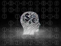 Finance concept: Head With Finance Symbol in. Finance concept: Glowing Head With Finance Symbol icon in grunge dark room with Dirty Floor, black background with Stock Image
