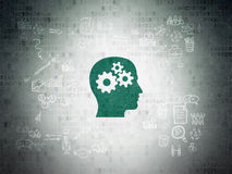 Finance concept: Head With Gears on Digital Paper Stock Image
