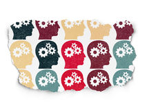 Finance concept: Head With Gears icons on Torn. Finance concept: Painted multicolor Head With Gears icons on Torn Paper background, 3d render Stock Photography