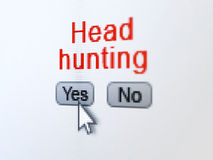 Finance concept: Head Hunting on digital computer. Finance concept: buttons yes and no with pixelated word Head Hunting and Arrow cursor on digital computer Royalty Free Stock Images