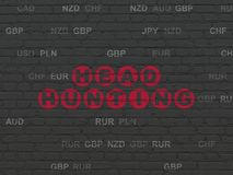 Finance concept: Head Hunting on wall background. Finance concept: Painted red text Head Hunting on Black Brick wall background with Currency Royalty Free Stock Photo