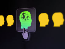 Finance concept: Head With Money on digital. Finance concept: pixelated Head With Money icon on button with Hand cursor on digital computer screen, selected Stock Images