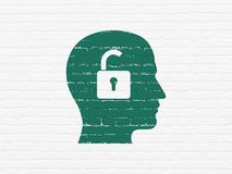 Finance concept: Head With Padlock on wall background. Finance concept: Painted green Head With Padlock icon on White Brick wall background Stock Image