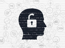 Finance concept: Head With Padlock on wall Royalty Free Stock Images