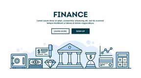 Finance, concept header, flat design thin line style. Vector illustration Royalty Free Stock Images
