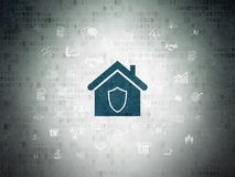 Finance concept: Home on Digital Data Paper background. Finance concept: Painted blue Home icon on Digital Data Paper background with  Hand Drawn Business Icons Royalty Free Stock Images