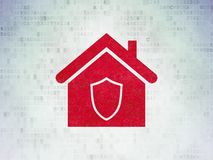 Finance concept: Home on Digital Data Paper background. Finance concept: Painted red Home icon on Digital Data Paper background Royalty Free Stock Images
