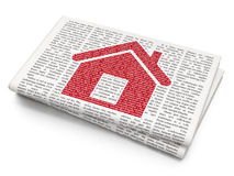 Finance concept: Home on Newspaper background. Finance concept: Pixelated red Home icon on Newspaper background Royalty Free Stock Photos