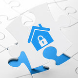 Finance concept: Home on puzzle background Stock Photos
