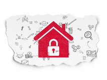 Finance concept: Home on Torn Paper background. Finance concept: Painted red Home icon on Torn Paper background with Scheme Of Hand Drawn Business Icons, 3d Royalty Free Stock Image