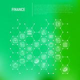 Finance concept in honeycombs with thin line icons. Safe, credit card, piggy bank, wallet, currency exchange, hammer, agreement, handshake, atm slot. Modern Royalty Free Stock Images