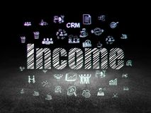 Finance concept: Income in grunge dark room. Finance concept: Glowing text Income,  Hand Drawn Business Icons in grunge dark room with Dirty Floor, black Royalty Free Stock Images