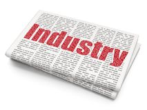 Finance concept: Industry on Newspaper background. Finance concept: Pixelated red text Industry on Newspaper background, 3D rendering Royalty Free Stock Images
