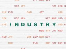 Finance concept: Industry on wall background. Finance concept: Painted green text Industry on White Brick wall background with Currency Royalty Free Stock Photos
