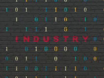 Finance concept: Industry on wall background. Finance concept: Painted red text Industry on Black Brick wall background with Binary Code, 3d render Royalty Free Stock Photo