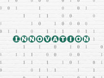 Finance concept: Innovation on wall background. Finance concept: Painted green text Innovation on White Brick wall background with Binary Code, 3d render Royalty Free Stock Photos