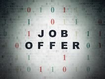 Finance concept: Job Offer on Digital Data Paper background. Finance concept: Painted black text Job Offer on Digital Data Paper background with Binary Code Royalty Free Stock Images