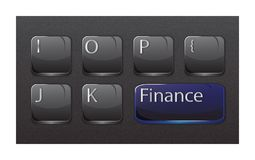 Finance concept keyboard grey blue. Finance concept: Computer Keyboard with word Finance written on it. Ideal for business presentation, blog, web Royalty Free Stock Image