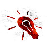 Finance concept: Light Bulb on Digital background. Finance concept: Pixelated red Light Bulb icon on Digital background Royalty Free Stock Images