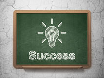 Finance concept: Light Bulb and Success on. Finance concept: Light Bulb icon and text Success on Green chalkboard on grunge wall background, 3d render Stock Images