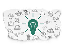 Finance concept: Light Bulb on Torn Paper. Finance concept: Painted green Light Bulb icon on Torn Paper background with  Hand Drawn Business Icons, 3d render Stock Photos