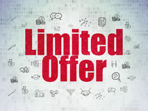 Finance concept: Limited Offer on digital. Finance concept: Painted red text Limited Offer on Digital Paper background with  Hand Drawn Business Icons, 3d render Stock Images