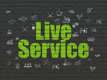 Finance concept: Live Service on wall background. Finance concept: Painted green text Live Service on Black Brick wall background with  Hand Drawn Business Icons Royalty Free Stock Image