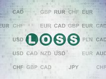 Finance concept: Loss on Digital Data Paper background. Finance concept: Painted green text Loss on Digital Data Paper background with Currency Royalty Free Stock Photography