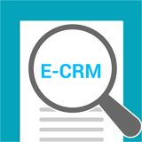 Finance Concept: Magnifying Optical Glass With Words E-crm. Vector illustration Royalty Free Stock Image